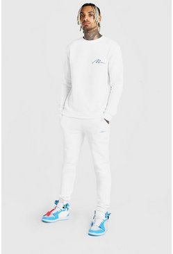 White MAN Sweater Slim Fit Tracksuit