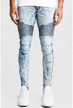 Mens Blue Super Skinny Fit Biker Jeans