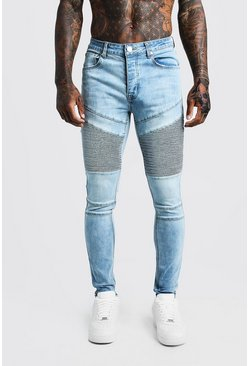 Mens Light blue Super Skinny Worn Biker Jeans