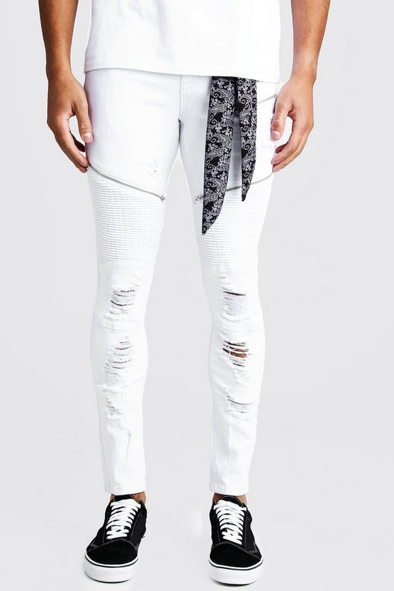 White Super Skinny Rip & Repair Biker Jeans