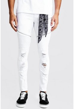 Mens White Super Skinny Rip & Repair Biker Jeans