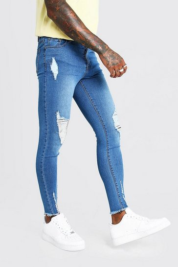Mens Pale Blue Super Skinny Jeans With Raw Hem