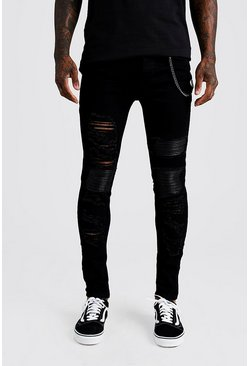 Black Super Skinny Repair Biker Jeans With Chain