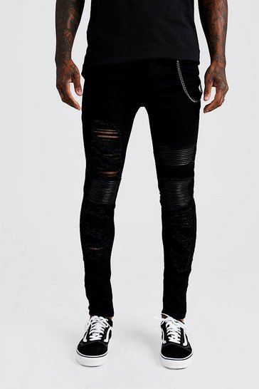 Mens Black Super Skinny Repair Biker Jeans With Chain