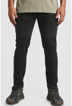 Herr Washed black Skinny Fit Worn Biker Denim Jean
