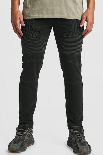 Mens Washed black Skinny Fit Worn Biker Denim Jean