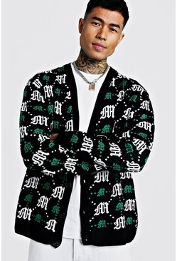 Oversized Gothic M All Over Print Knitted Cardigan, Green, HOMMES