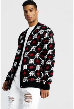 Red Oversized Gothic M All Over Print Knitted Cardigan