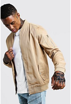 Taupe Cotton MA1 Bomber Jacket