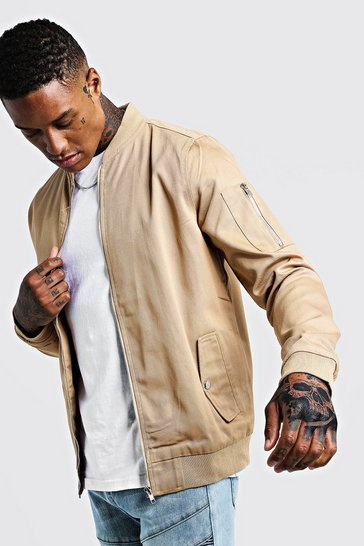 Mens Taupe Cotton MA1 Bomber Jacket