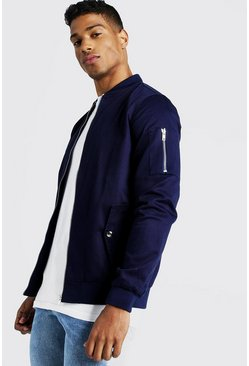 Mens Navy Cotton MA1 Bomber Jacket