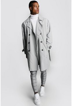 Mens Mid grey Oversized Check Lined Trench Coat