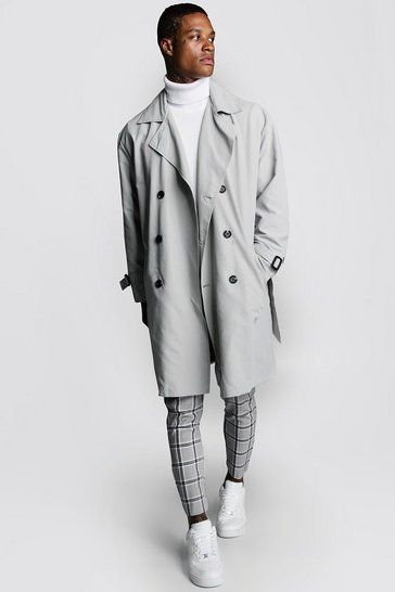 Mid grey Oversized Check Lined Trench Coat