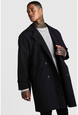 Herr Black Oversized Check Lined Trench Coat
