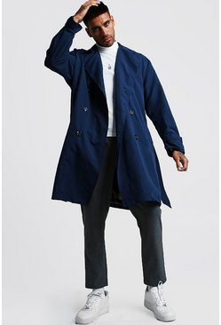 Herr Navy Oversized Check Lined Trench Coat