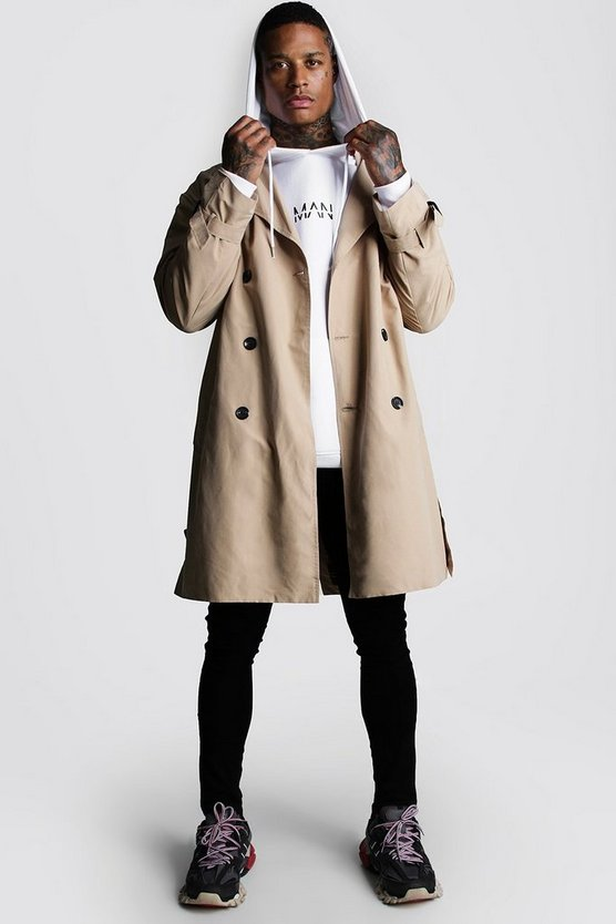 Sand Oversized Check Lined Trench Coat