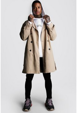 Herr Sand Oversized Check Lined Trench Coat