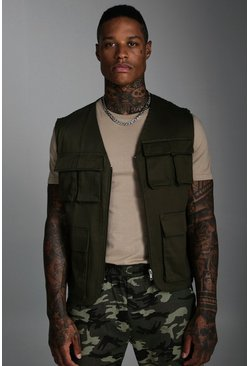 Mens Khaki Pocket Detail Utility Vest