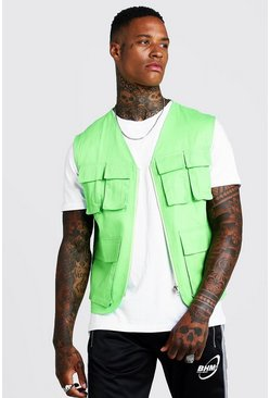 Mens Neon-green Pocket Detail Utility Vest