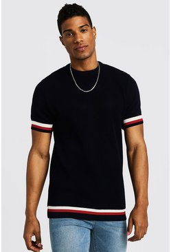 Mens Navy Crew Neck Knitted T-Shirt With Tipping