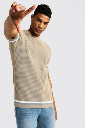 Mens Camel Crew Neck Knitted T-Shirt With Tipping
