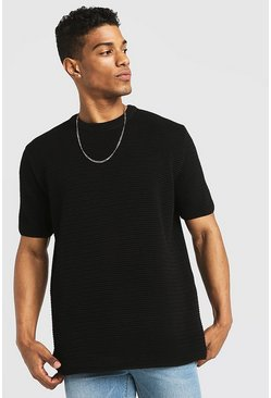 Black Loose Fit Waffle Stitch Knitted T-Shirt