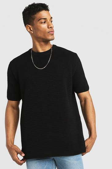 Mens Black Loose Fit Waffle Stitch Knitted T-Shirt