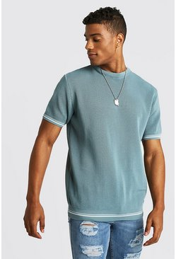 Mens Cobalt Crew Neck Knitted T-Shirt With Tipping