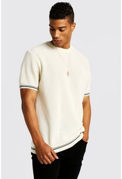 Crew Neck Knitted T-Shirt With Tipping, Cream, Uomo