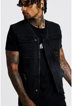 Herr Washed black Denim Utility Vest With Zip Detail