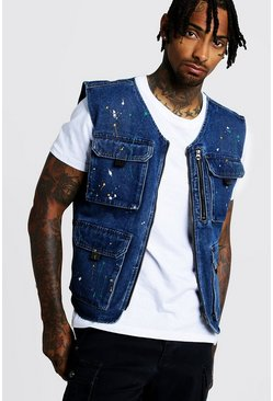 Indigo Denim Utility Vest With Paint Splat