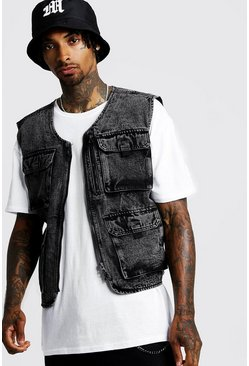 Black Utility Vest In Acid Wash Denim