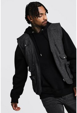 Herr Charcoal Wool Look Utility Vest