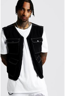 Black Denim Utility Vest With Contrast Stitch