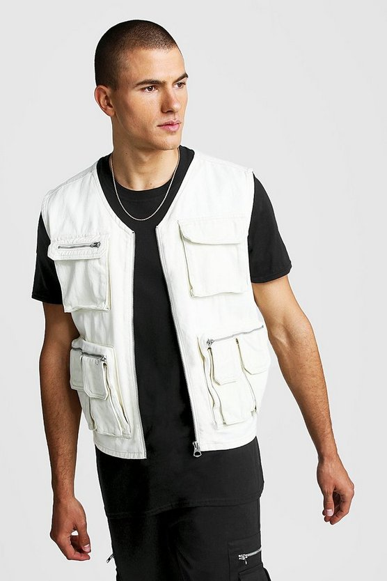 Ecru Denim Multi Pocket Utility Vest