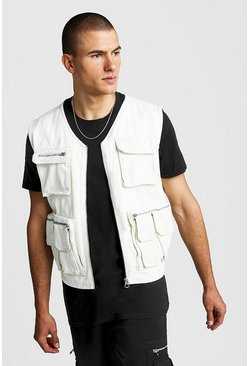 Mens Ecru Denim Multi Pocket Utility Vest