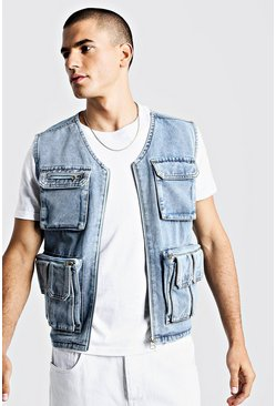 Mens Light blue Denim Multi Pocket Utility Vest