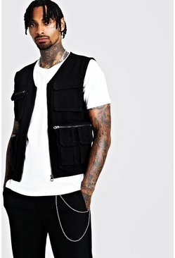 Black Denim Multi Pocket Utility Vest