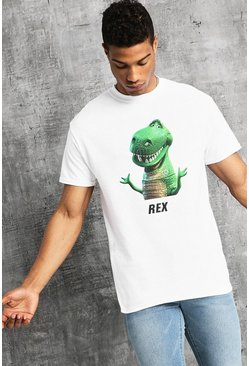 Disney Toy Story Rex Print T-Shirt, White, Uomo