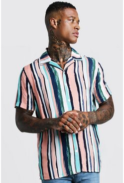 Mens Pale pink Vertical Stripe Short Sleeve Revere Shirt
