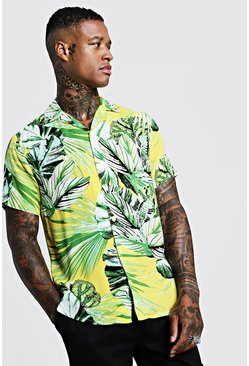 Palm Print Short Sleeve Revere Shirt, Yellow, HOMMES