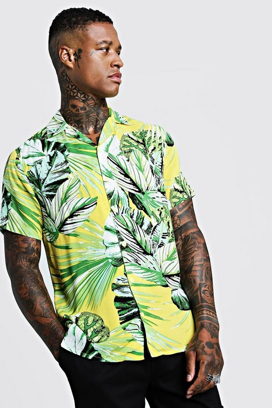 Mens Yellow Palm Print Short Sleeve Revere Shirt