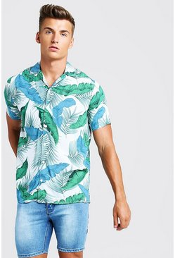 Mens White Palm Print Short Sleeve Revere Shirt