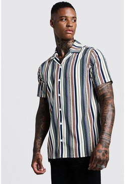 Aztec Stripe Short Sleeve Revere Shirt, White, HOMBRE