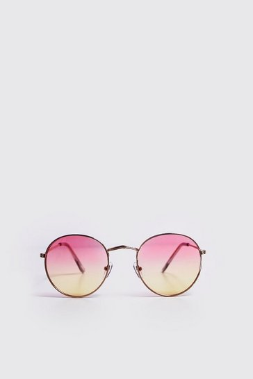 Mens Peach Ombre Lens Round Sunglasses