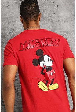 Disney Front And Back Print Mickey T-Shirt, Red, HERREN