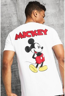 Disney Front And Back Print Mickey T-Shirt, White, HOMBRE