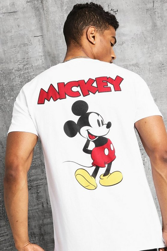 Mens White Disney Front And Back Print Mickey T-Shirt