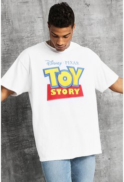 Disney Oversized Classic Toy Story Sign T-Shirt, White, HOMBRE
