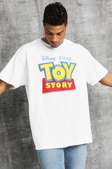 Mens White Disney Oversized Classic Toy Story Sign T-Shirt